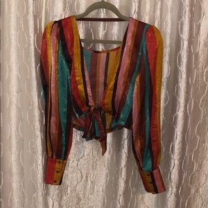 Funky stripped backless shirt